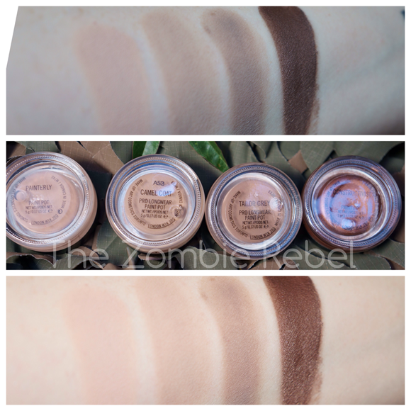 MAC Pro Longwear Paint Pots swatches (2)