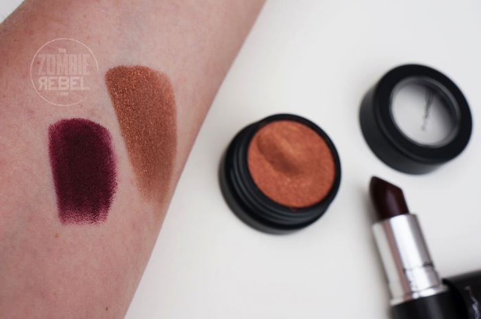 MAC ANovelRomance Coil Lingering Kiss Swatches TheZombierebel